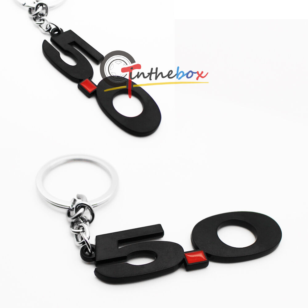 Black Finish Number 5 0 Key Chain Fob Ring Keychain For