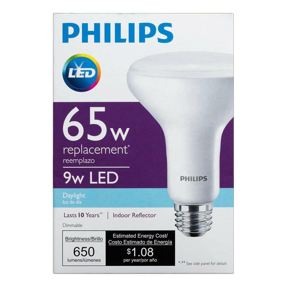 9w Philips Led 65w Equivalent Daylight 5000k Br30 Dimmable