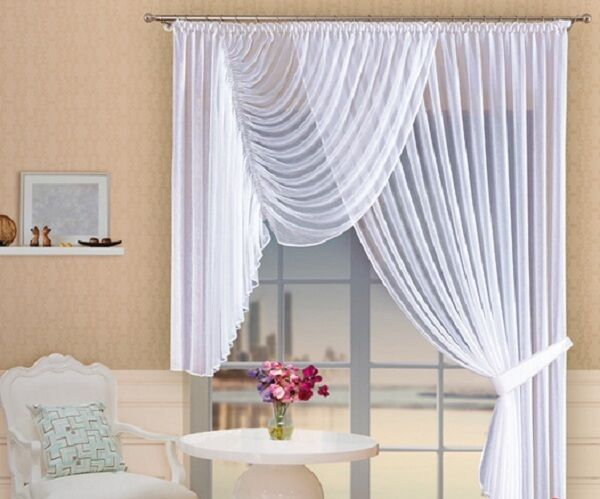 white long short voile crinkle net curtain home window decoration ready made ebay. Black Bedroom Furniture Sets. Home Design Ideas