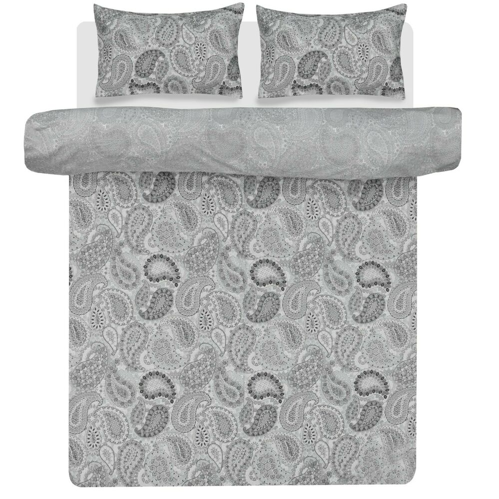 Paisley Grey Duvet Cover Pillowcase Set Reversible Bedding