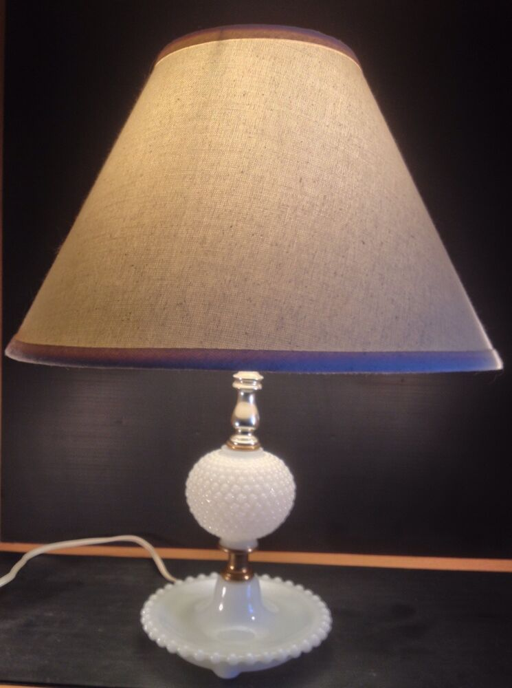 Vintage Hobnail White Milk Glass Table Lamp With Shade