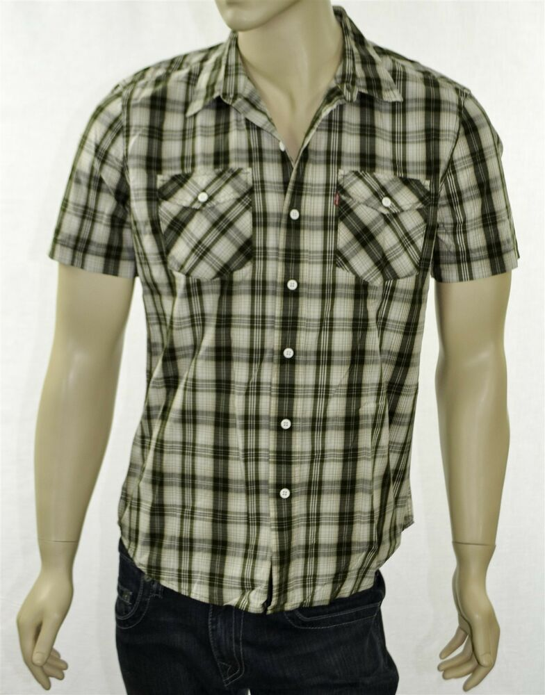Levi 39 s men 39 s short sleeve button down shirt green plaid Short sleeve plaid shirts