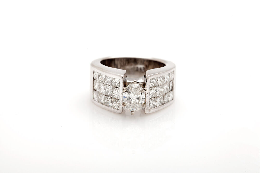 Estate $15 000 4ct Oval Princess Cut Diamond 14k White Gold Wedding Band Ring