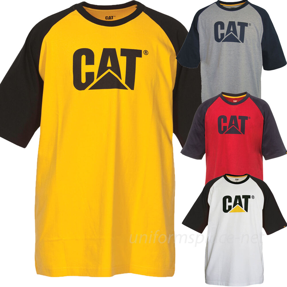 caterpillar t shirt mens short sleeve trademark raglan. Black Bedroom Furniture Sets. Home Design Ideas