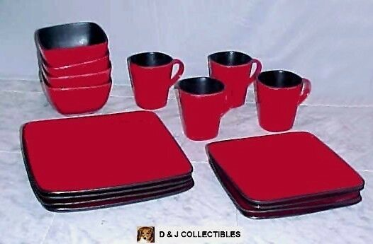 Better Homes Gardens Rave Red 16 Pc Square Dinnerware