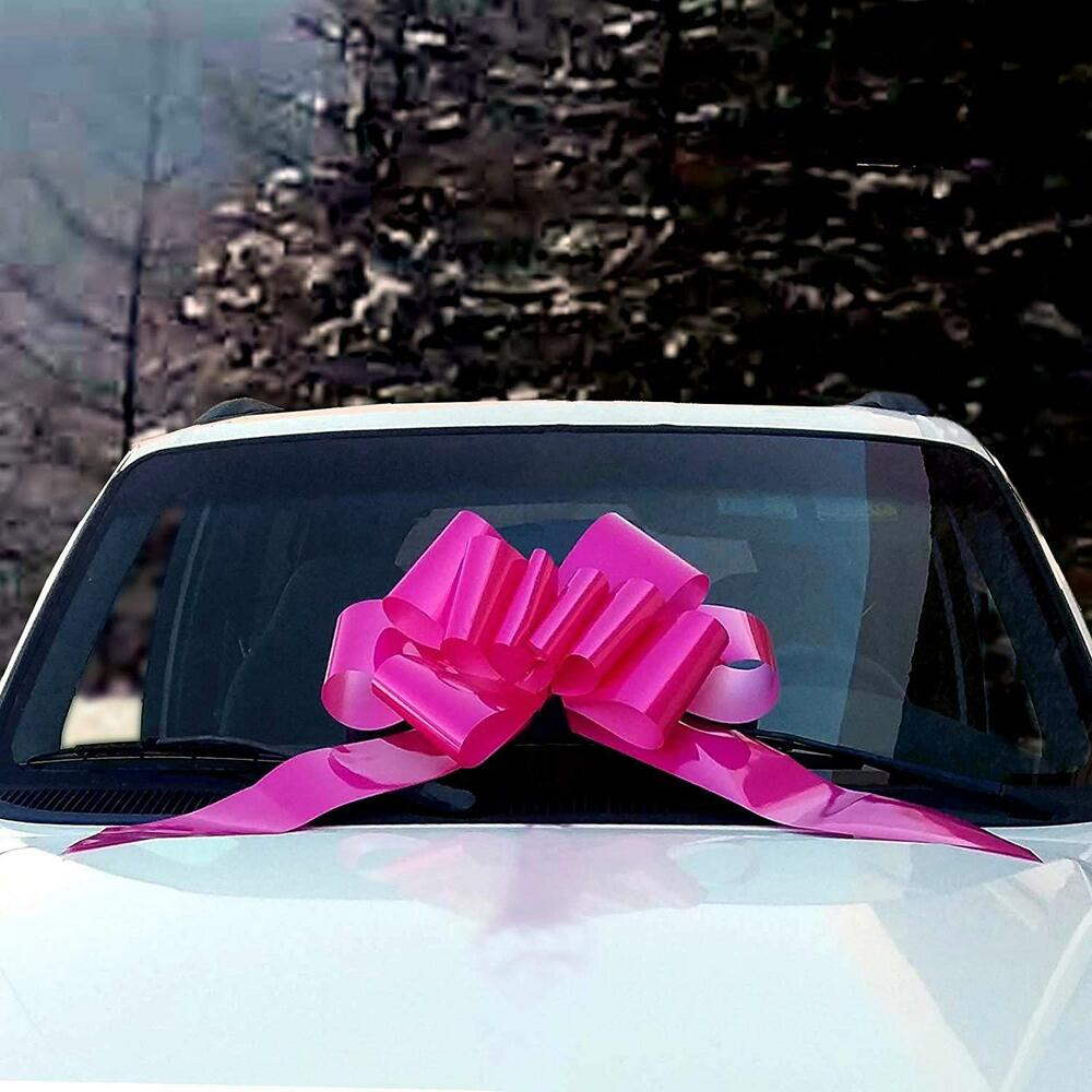 "Giant Car Bow: Big Hot Pink Car Large Gift Pull Bow 23""x56"""