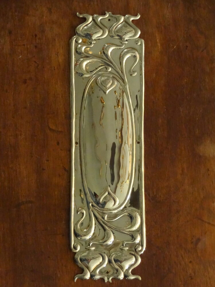 Set of 10 brass art nouveau finger door push plates for Door push plates