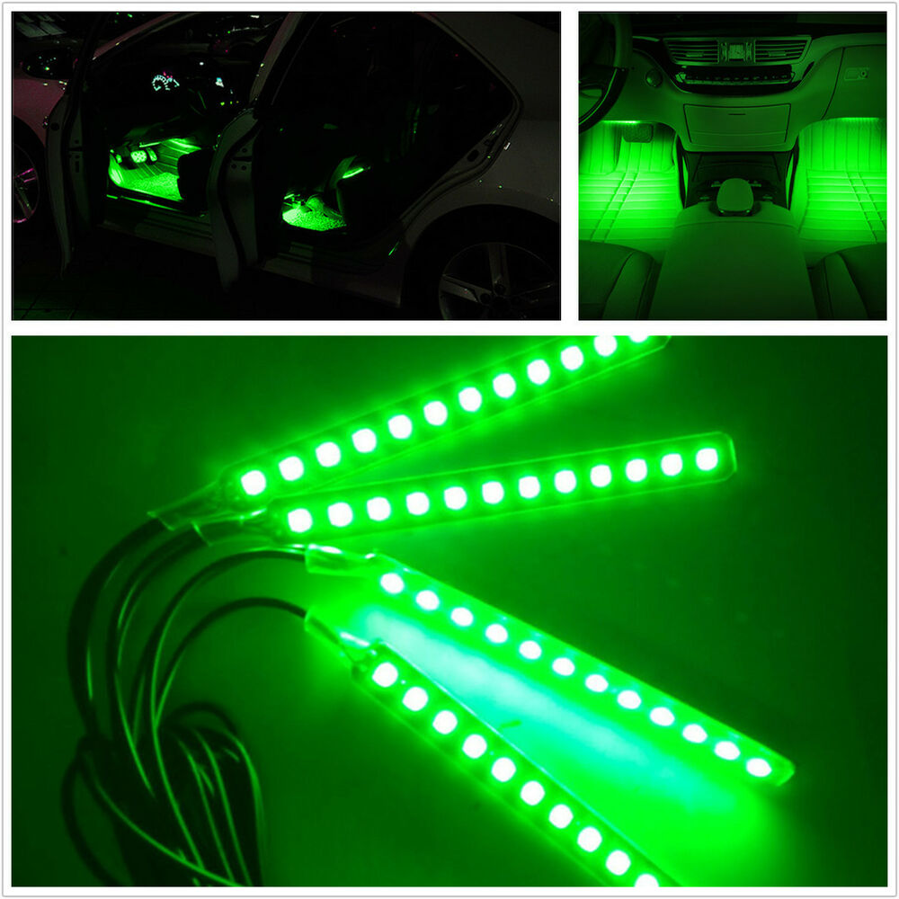 Green 4x12 Led Car Suv Interior Footwell Neon Decorative Atmosphere Light Strips Ebay