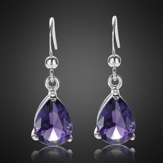 Sarotta Jewelry Gift Amethyst White Gold Plated Earring ...
