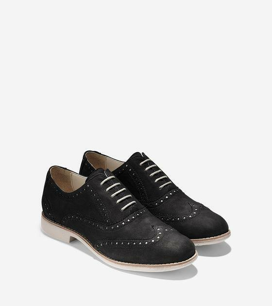 cole haan womens gramercy wing oxford shoes wingtip flats