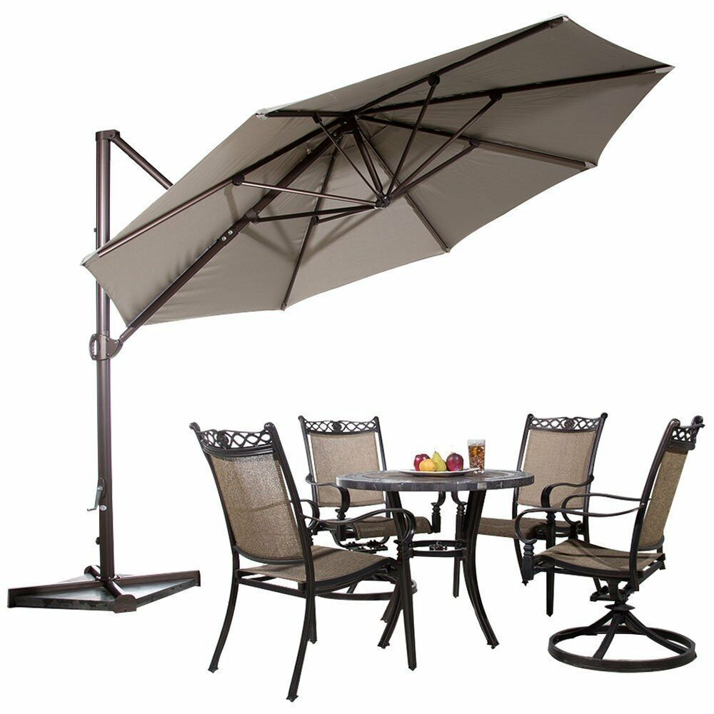 11ft Offset Cantilever Patio Umbrella W Tilt Crank Outdoor