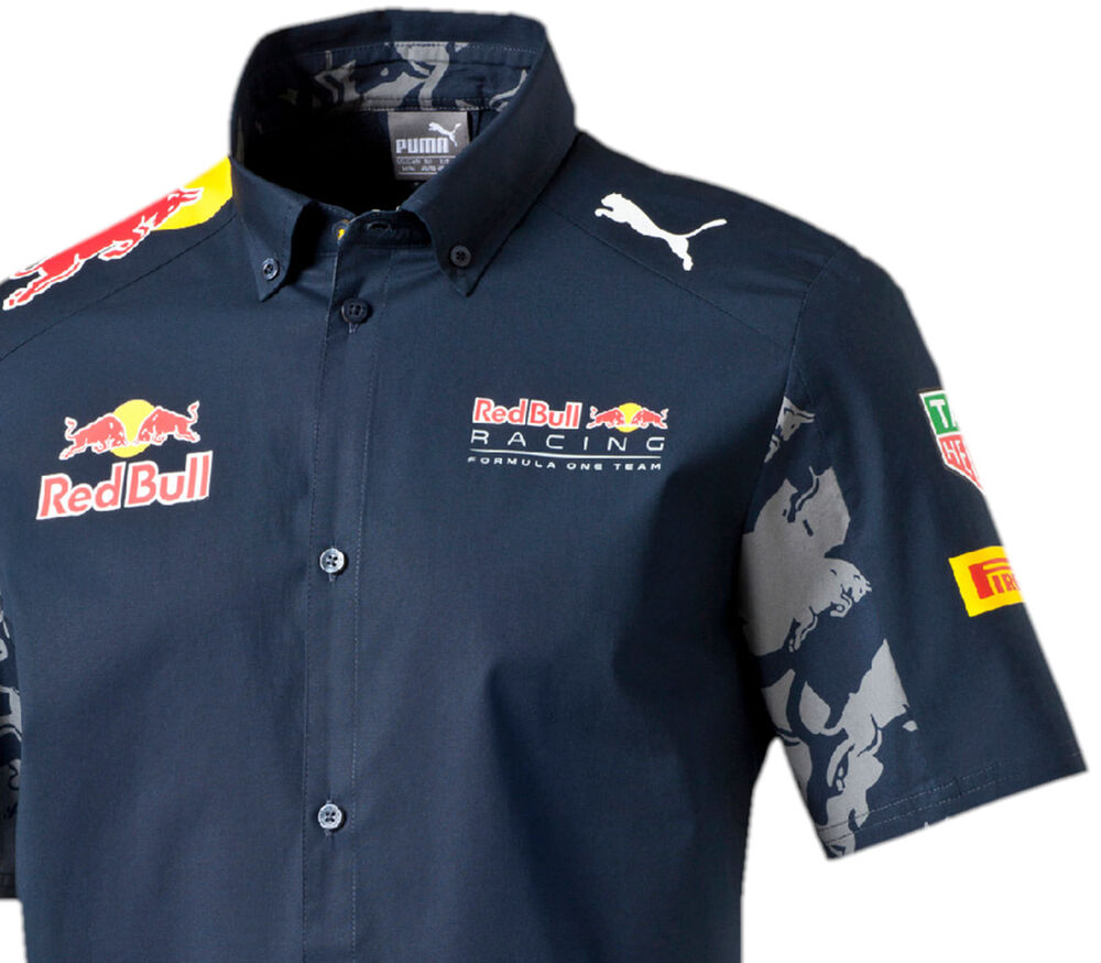 Authentic puma red bull racing 2016 collection men button for Red bull logo shirt