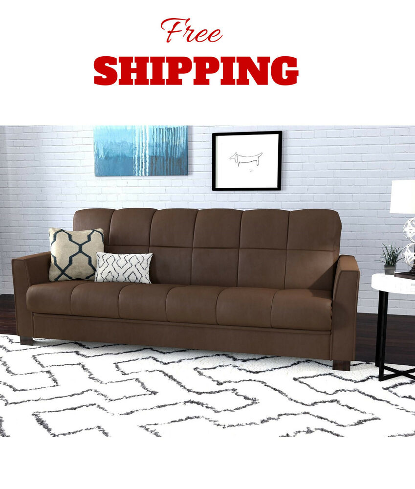 Convertible couch sofa futon sleeper bed living room furniture microfiber new ebay for Convertible living room furniture