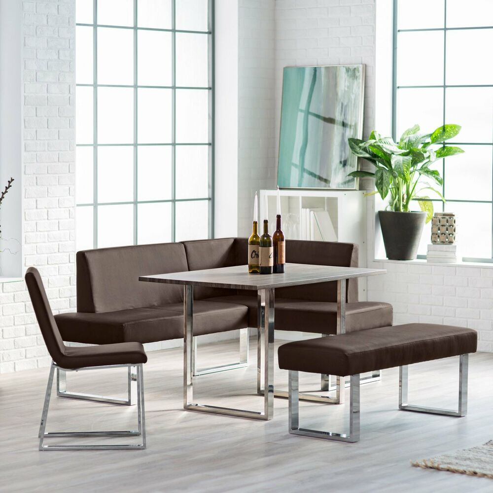 Corner dining set breakfast nook leather bench chairs for Dining set with bench and chairs