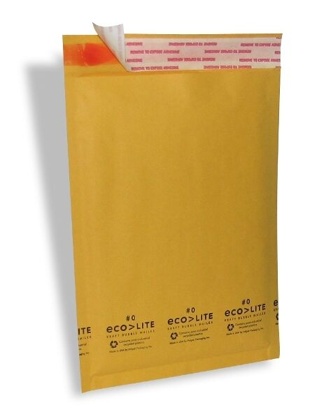 25 #0 6.5x10'' Ecolite Kraft Bubble Mailers Padded Envelopes CD DVD - TheBoxery