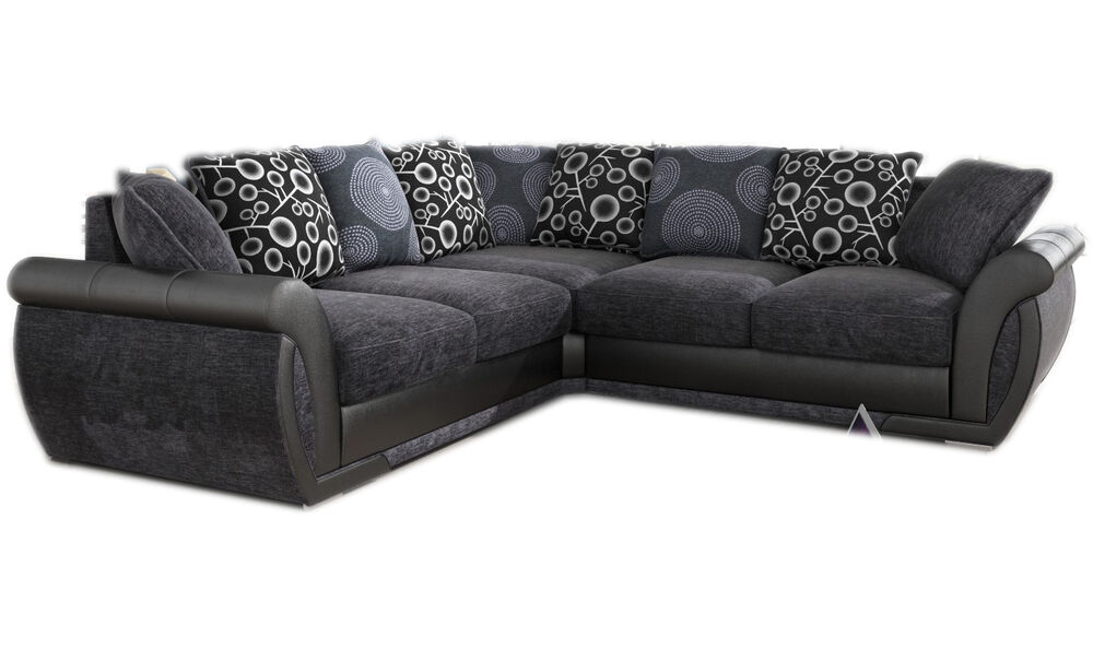 New large pioneer corner sofa grey black leather for Black corner sofa