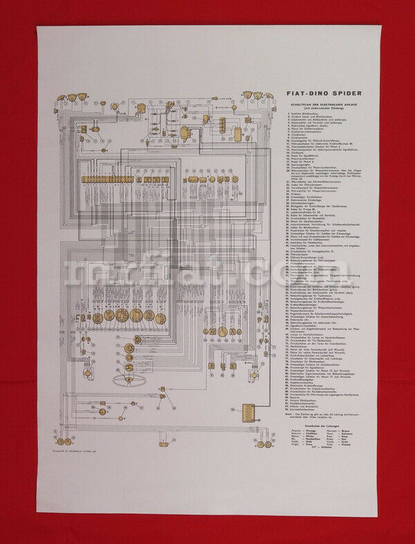 Fiat Dino    2000    Spider    Wiring       Diagram    59x84    cm    New   eBay