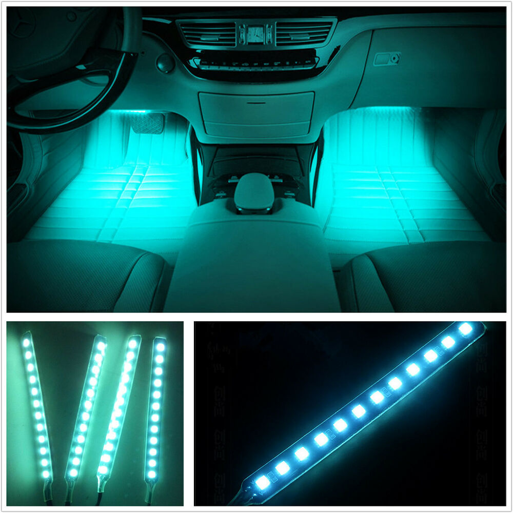 Ice blue led car interior charge footwell floor decorative lamp atmosphere light ebay for Led car interior lights ebay