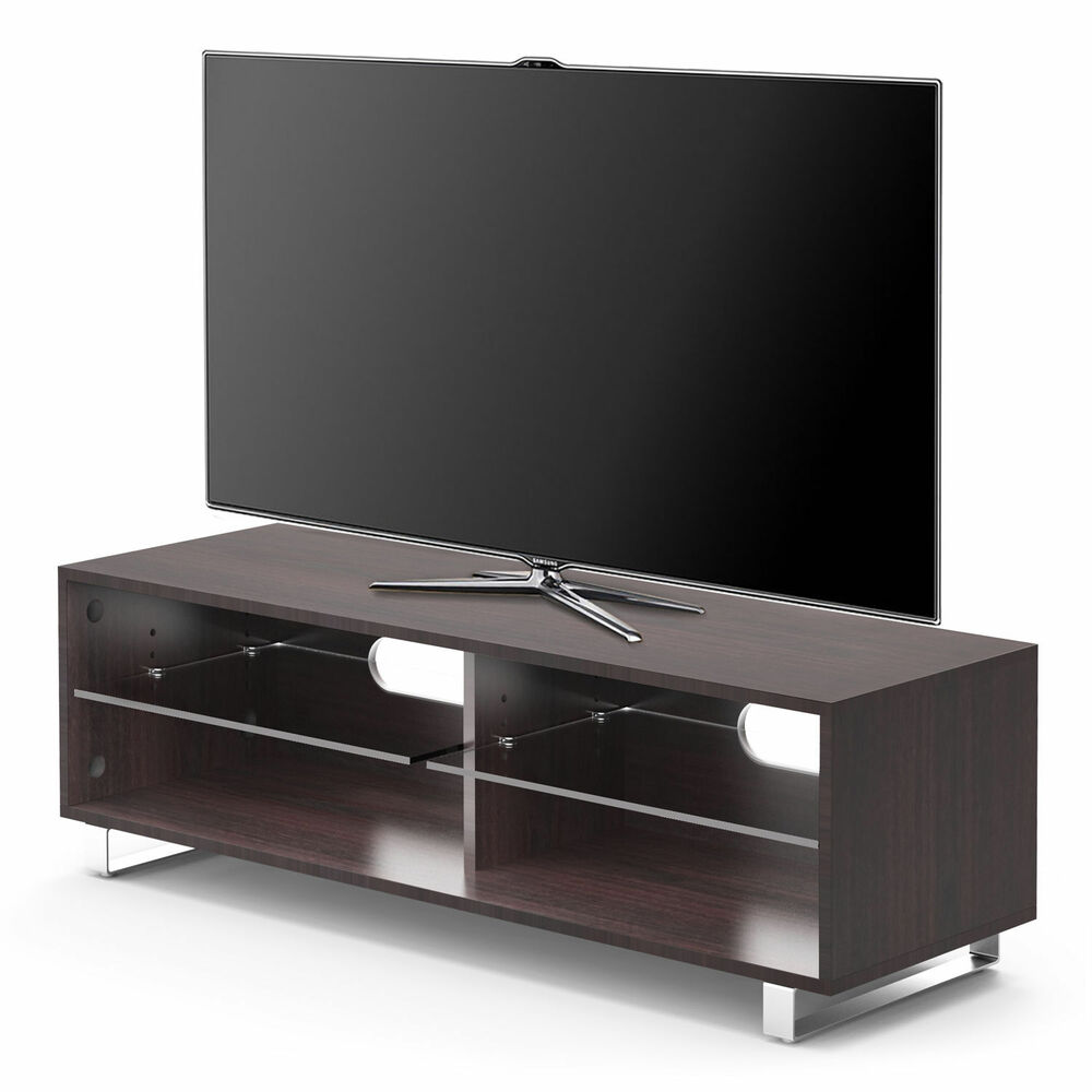 1home curved tv stand fits 32 55 inch 4k ultra hd led lcd oled flat walnut ebay. Black Bedroom Furniture Sets. Home Design Ideas