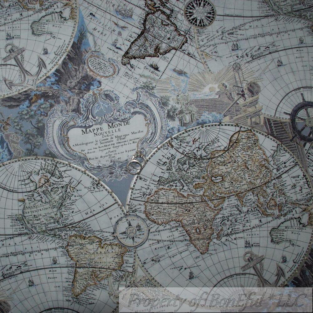 World Map Rug Ebay: BonEful FABRIC FQ Cotton Quilt Blue Silver Brown Old World