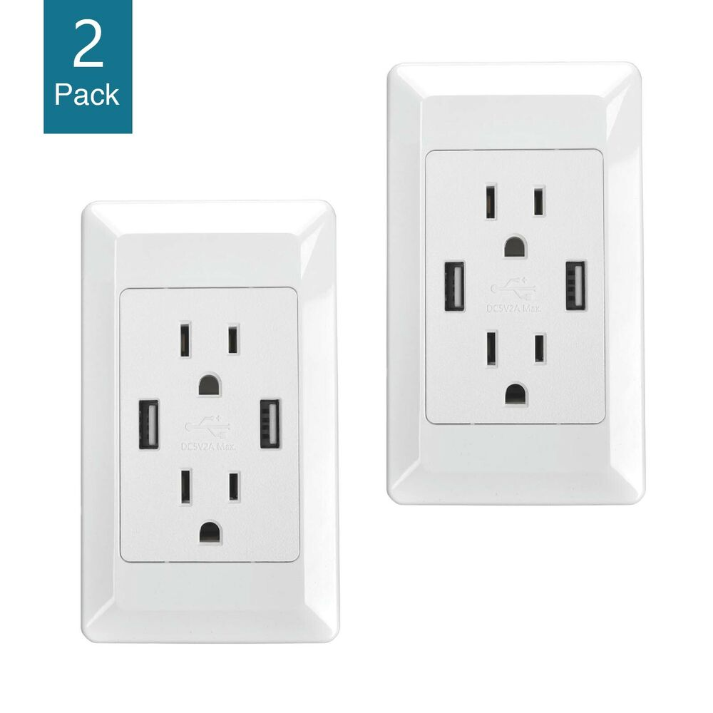 2 packs dual usb port wall socket charger ac power receptacle outlet plate panel ebay. Black Bedroom Furniture Sets. Home Design Ideas