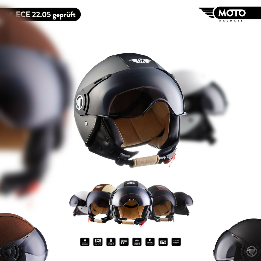 moto h44 jet helm motorrad helm roller helm retro. Black Bedroom Furniture Sets. Home Design Ideas