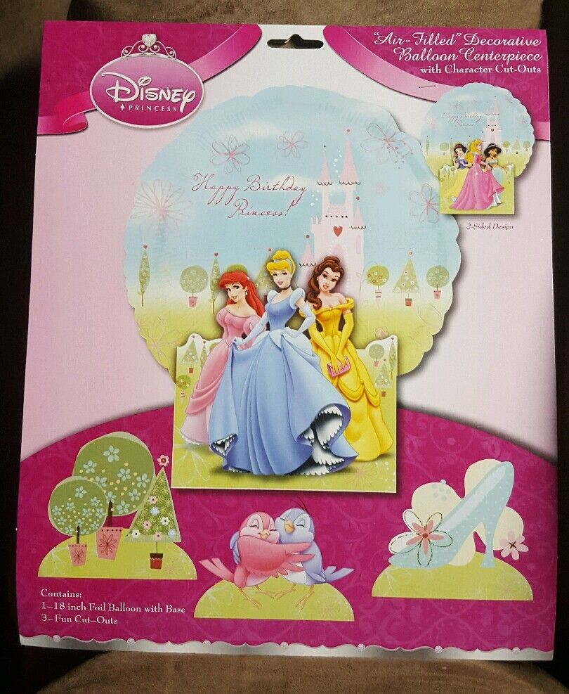 Paper Cut Out Blue Balloons First Birthday Decoration: Disney Princess Balloon Centerpiece With Character Cut