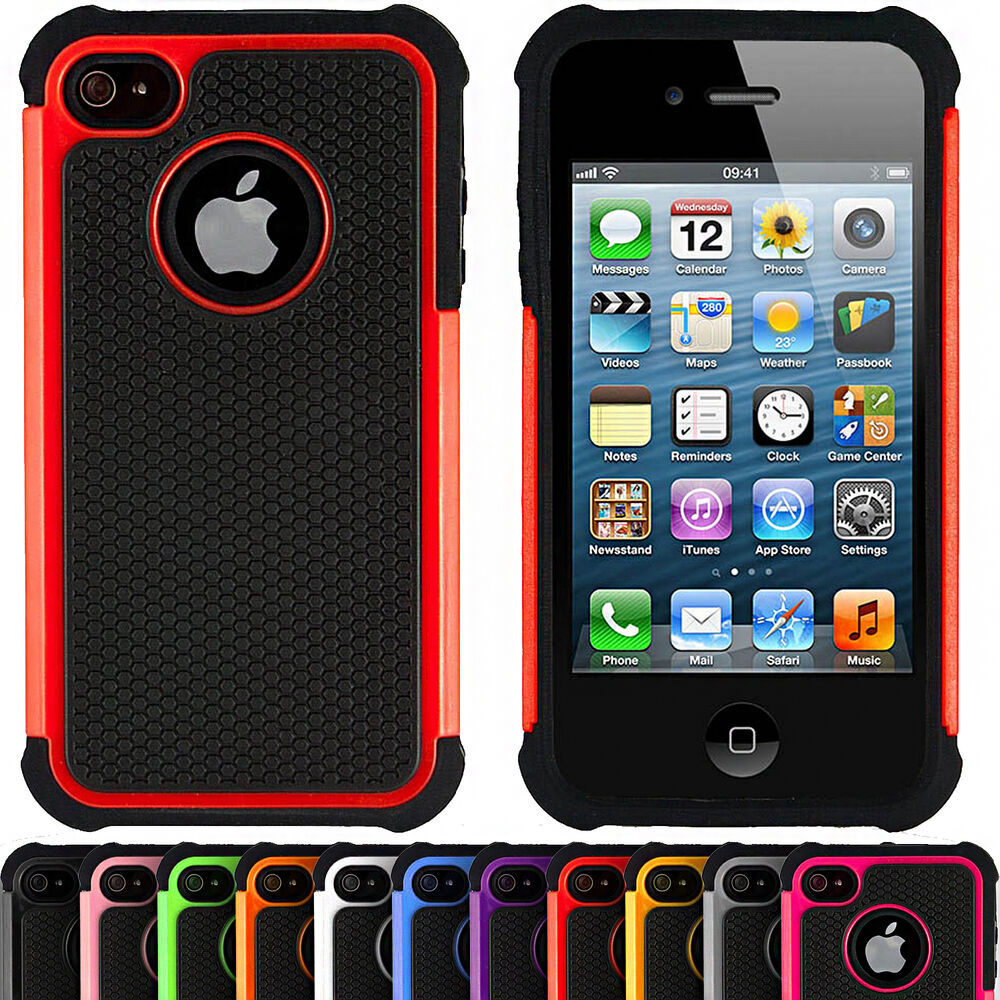 iphone 4 phone cases shock proof hybrid armour defender tough cover 1424