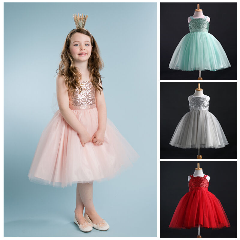 Flower Girl Kids Baby Bridesmaid Party Dress Formal Sequin