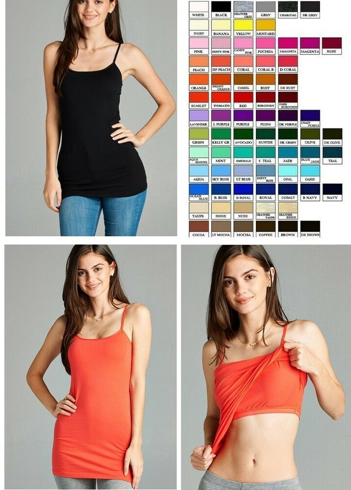 Women Cami Camisole Cotton Spandex Built In Bra Shelf Tank