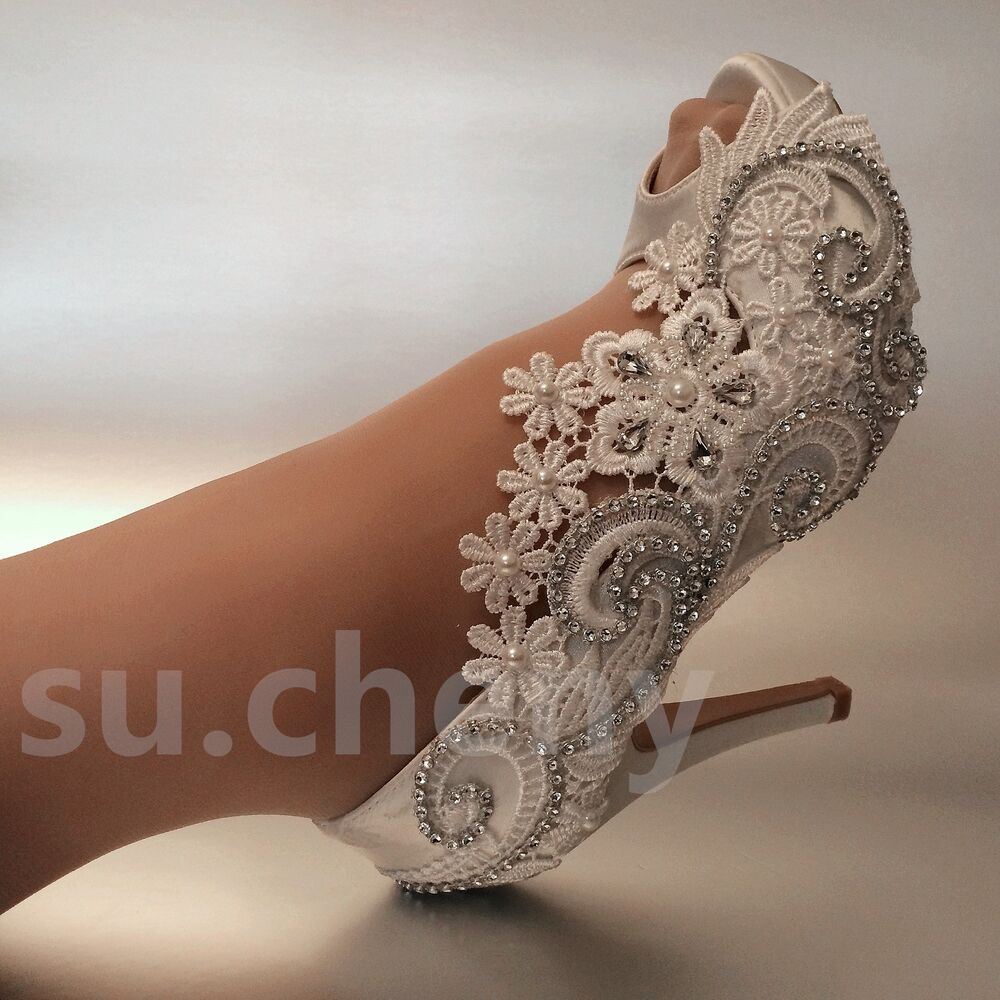 "3 4 Heel White Ivory Satin Lace Ribbon Open Toe Wedding: 3"" 4"" Heel White Ivory Silk Lace Open Toe Crystal Wedding"