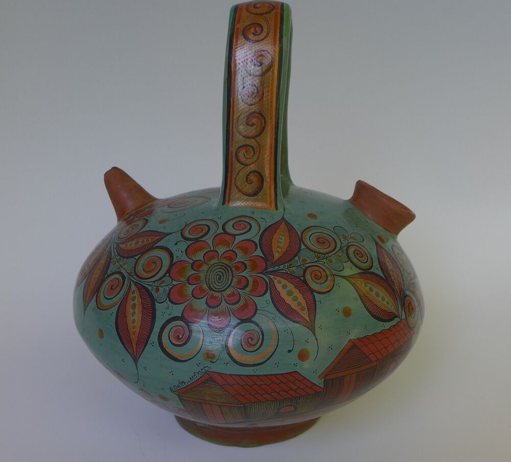 Mexican Tonala Burnished Pottery Urn Vase By Angel Ortiz