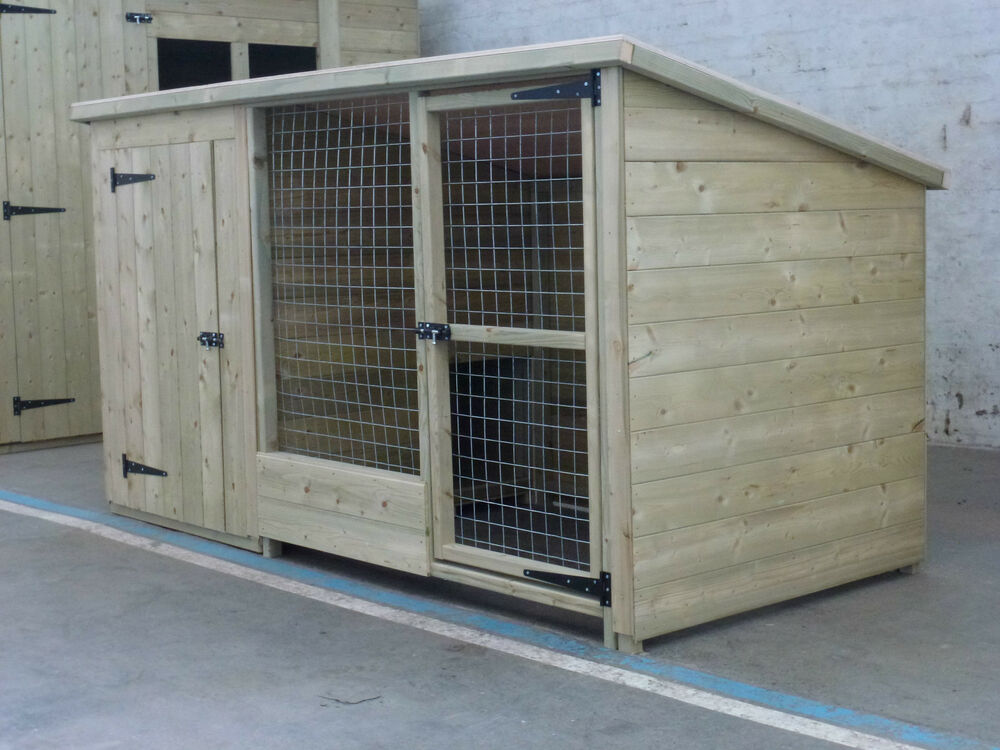 Tanalised Wooden Dog Kennel And Run Cattery 10 X 4 X 4