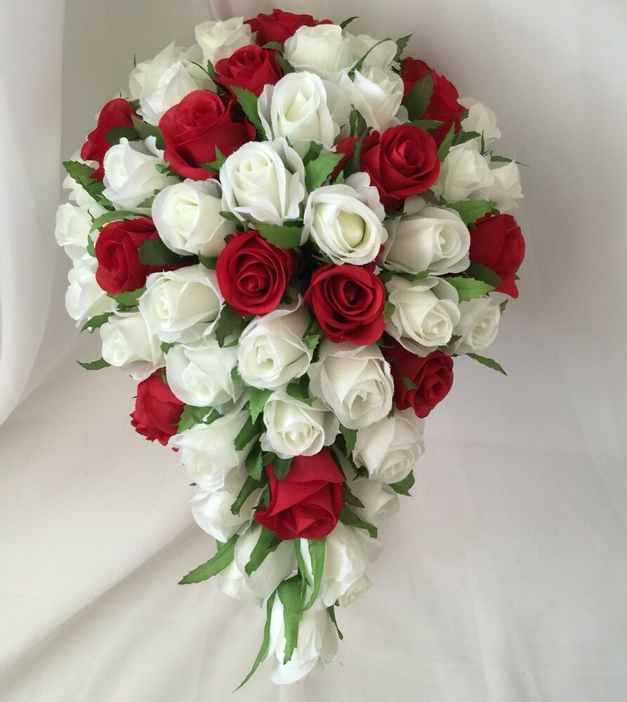 White Wedding Flowers: Silk Wedding Bouquet Red White Rose Bud Roses Teardrop