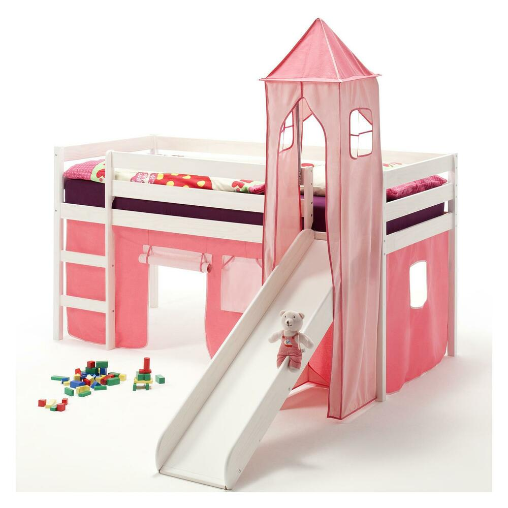 ruschbett hochbett spielbett mit rutsche kiefer massiv weiss turm vorhang pink ebay. Black Bedroom Furniture Sets. Home Design Ideas