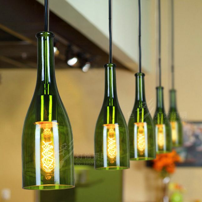 Home Decor Industrial DIY Wine Bottle Ceiling Lamp Light ...