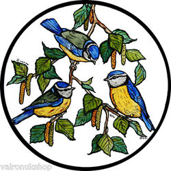 STAINED GLASS WINDOW ART STATIC CLING BLUE TITS
