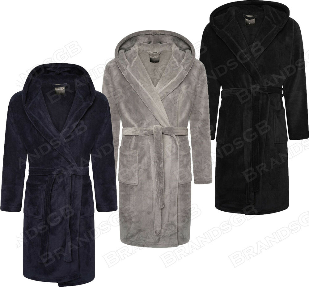 mens soft cozy hooded fleece dressing gown bathrobe robe sizes m 5xl ebay. Black Bedroom Furniture Sets. Home Design Ideas