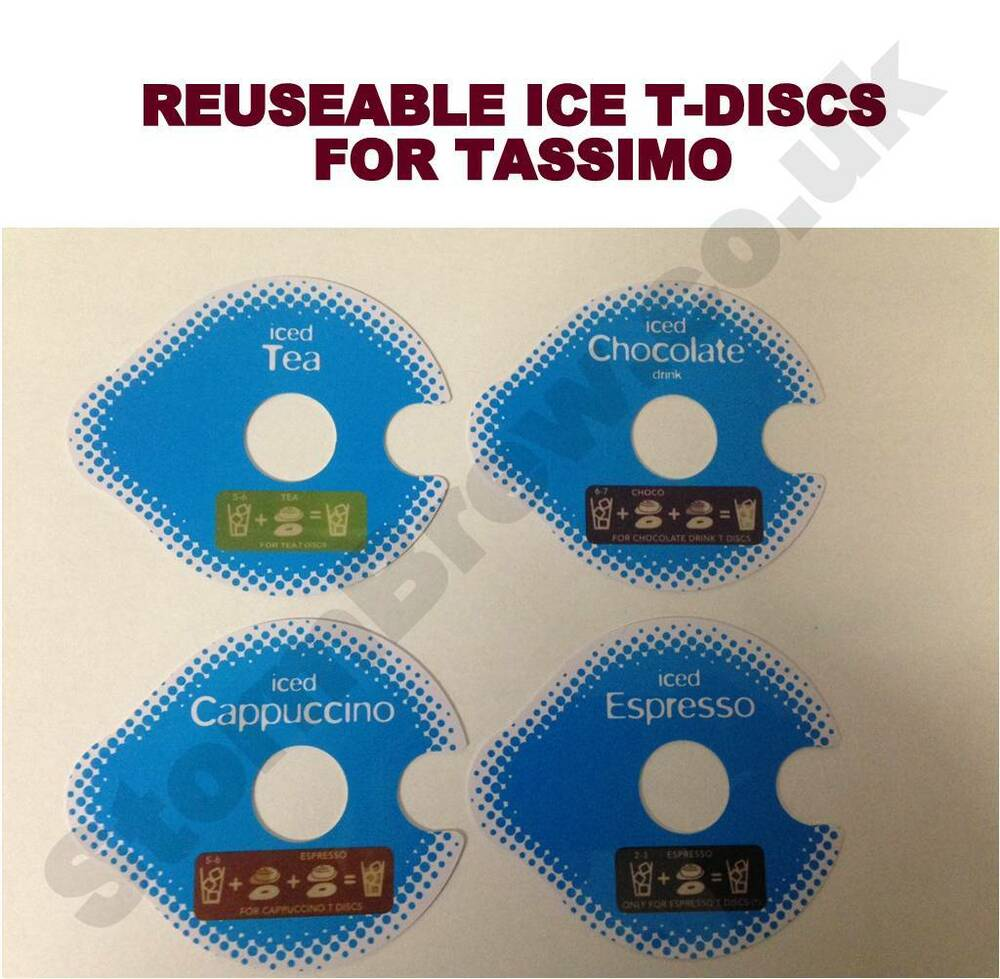 4 reuseable ice t discs for tassimo for cappuccinos coffee tea and chocola - Support t disc tassimo ...