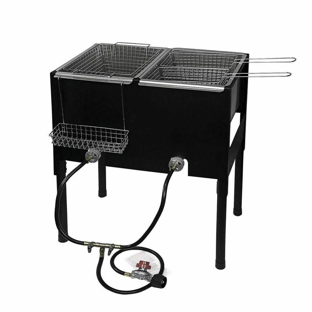 propane lpg camping stove 2 burner basket gas double deep fryer cooker outdoor ebay. Black Bedroom Furniture Sets. Home Design Ideas