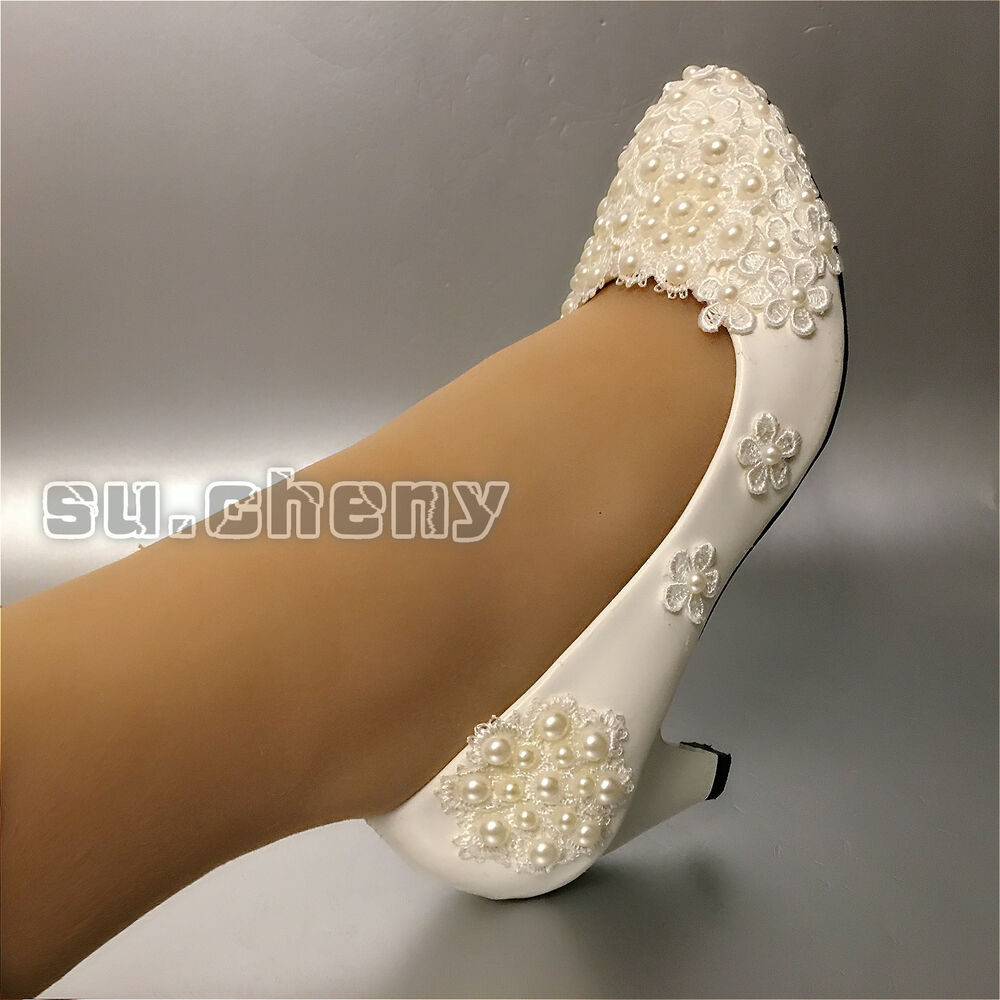 41c98614e23d ... shoes Bridal flats Source · su cheny Ivory white lace pearl Wedding  flats heel wedge Wedding