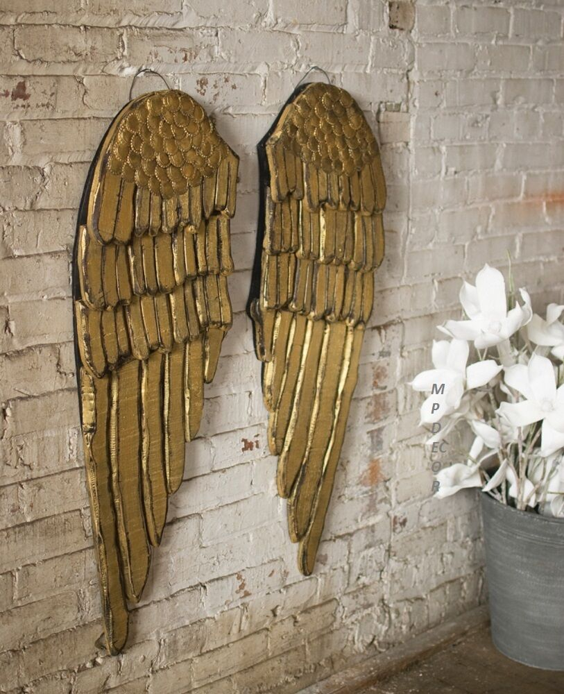 Gold Wood Angel Wings Wall Decor Shabby Cottage Chic