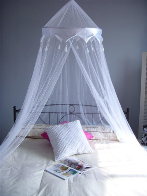 White Satin Crown Mosquito Net Bed Single Double King
