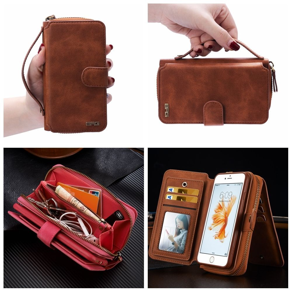 Leather Magnetic Wallet Zip Purse Flip Handbag Cover Case