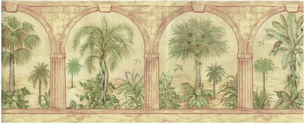 PALM TREES UNDER ARCHWAYS BIRDS FLYING Wallpaper BordeR
