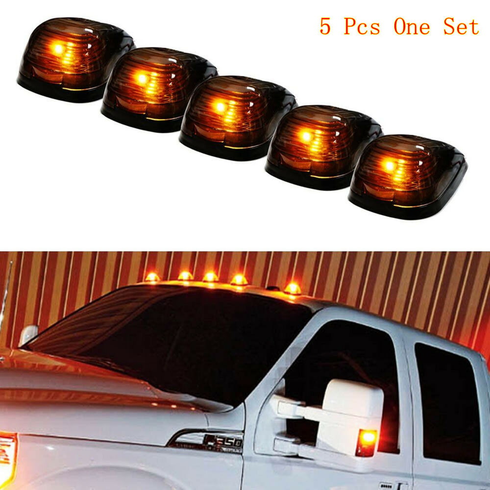 5Pcs SUV Truck Van Smoked Lens Amber LED Roof Top Marker