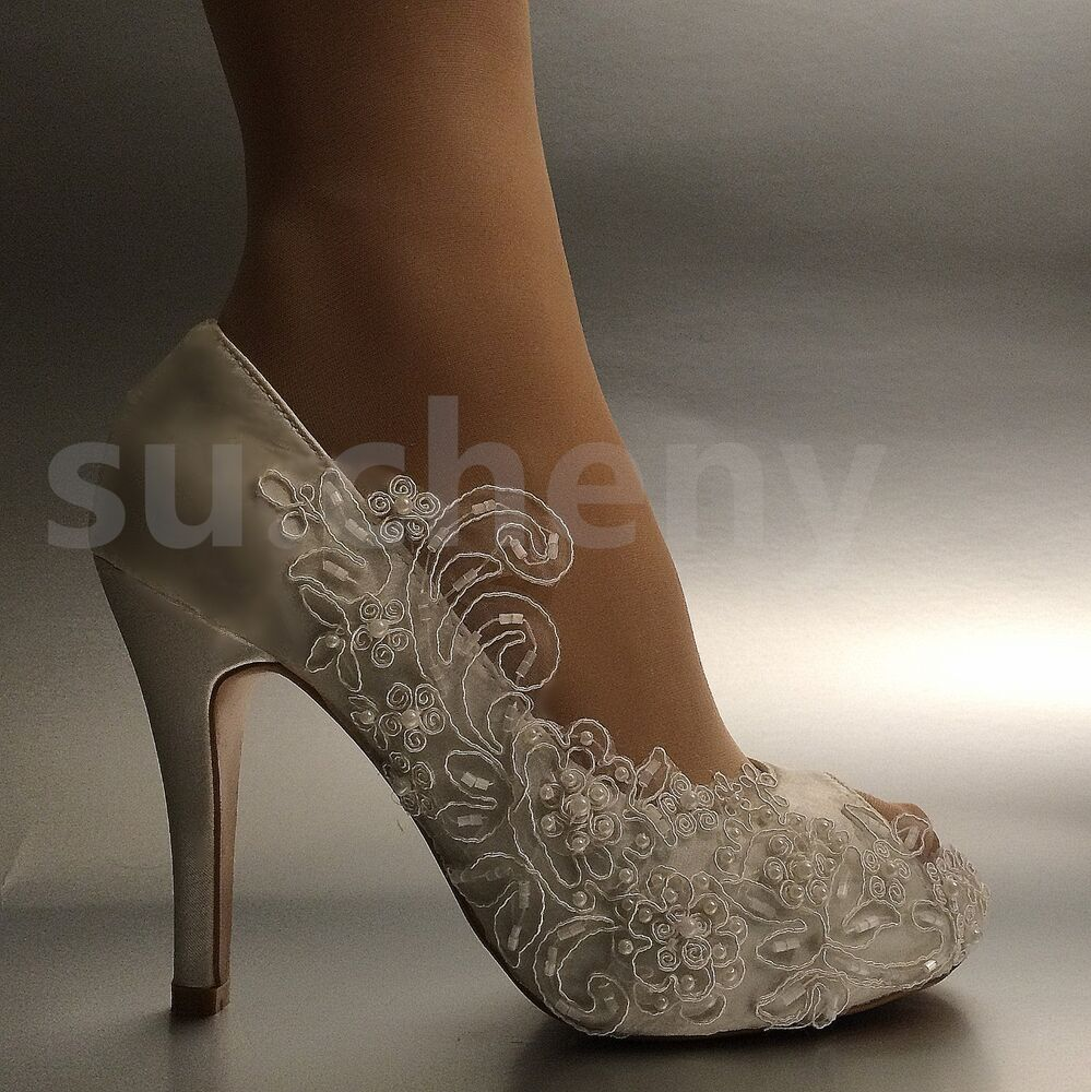 "3 4 Heel White Ivory Satin Lace Ribbon Open Toe Wedding: 3"" / 4"" Heel Pearl White Ivory Silk Lace Open Toe Wedding"