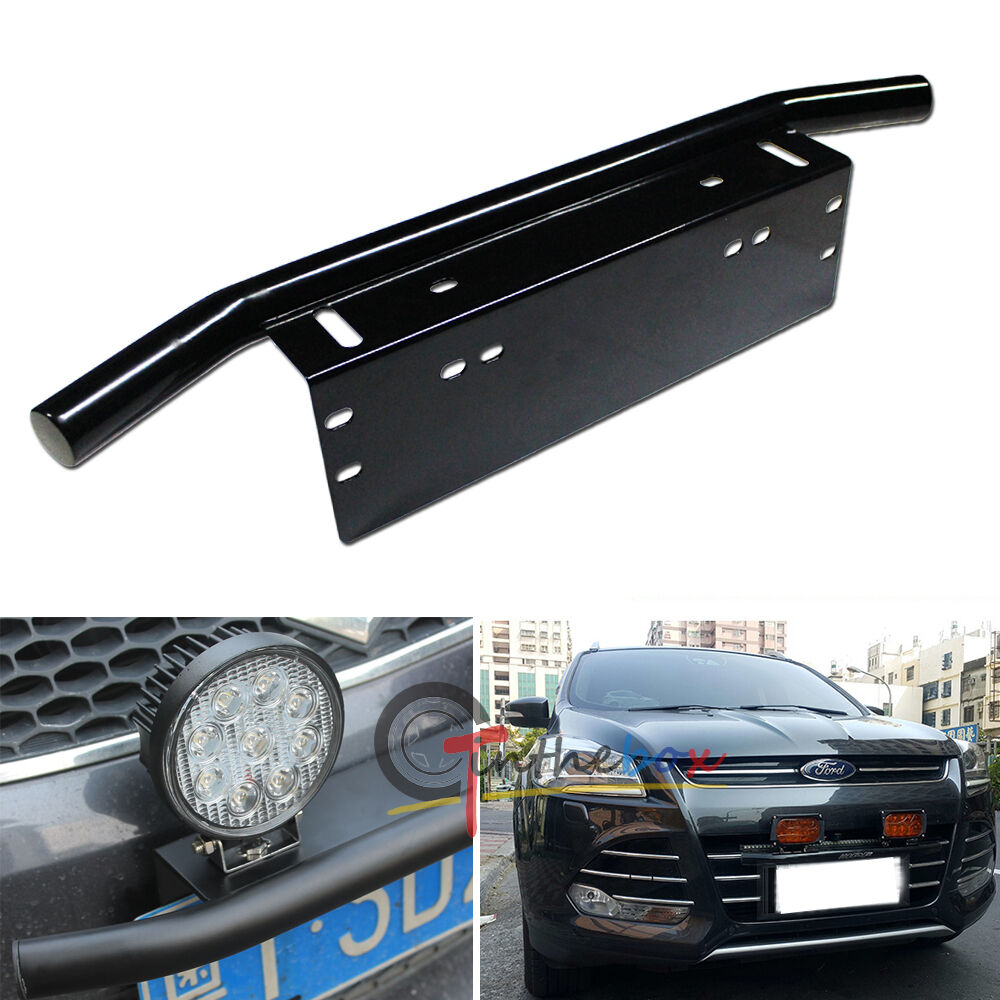 Bull Bar Style Front Bumper License Plate Mount Bracket Holder Off Road Lights Ebay