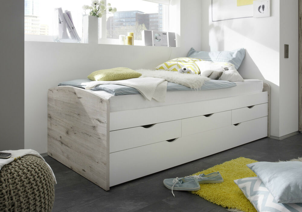 funktionsbett nessi bett kinderbett jugendbett sandeiche wei tandemliege 90x200 ebay. Black Bedroom Furniture Sets. Home Design Ideas