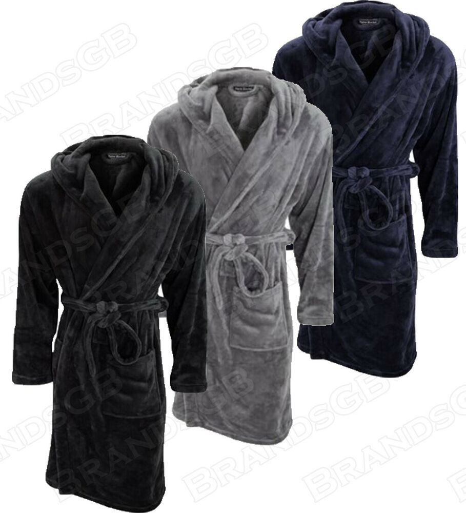 "Men S Dressing Gowns: ""MICHAEL PAUL"" MENS HOODED SUPER SOFT&COSY FLEECE DRESSING"
